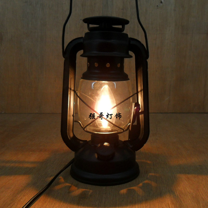 Fashion Vintage Wrought Iron Lantern Brief Rustic Bedroom Bedside Lamp Living Room Lights Restaurant Decoration Table In Lamps From