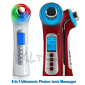 5 em 1 3 mhz Ultrasonic Rosto Cuidados Massageador Fóton LEVOU galvânica da pele íon limpa sonic ultrasound elevador facial spa de beleza dispositivo