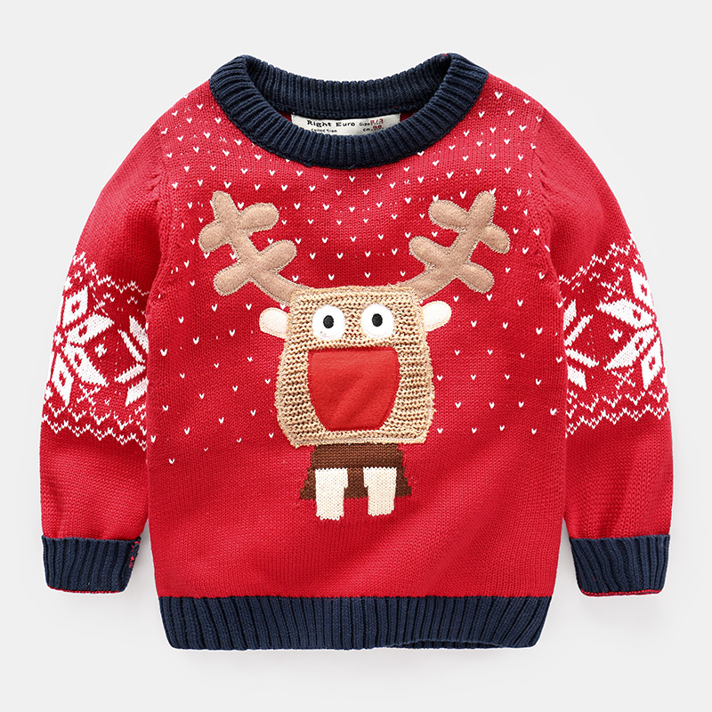 boy cartoon elk sweater 2018 in spring and autumn new Christmas Baby Red Turtleneck Girl