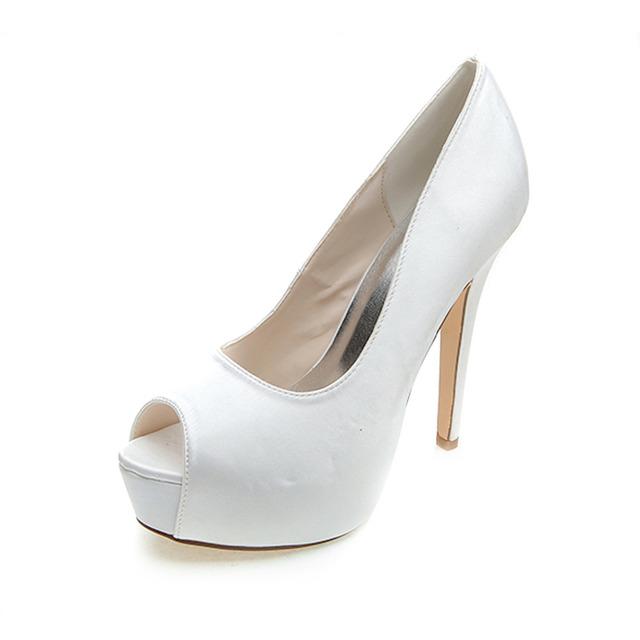 Woman Super High Heel Satin Dress Shoes Platform Open Toe Evening Party Cocktail Pumps Shoes