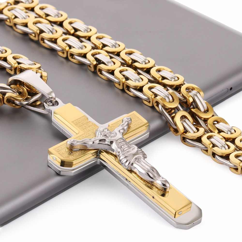 "Crucifix Jesus Cross Necklace Stainless Steel Christs Pendant Gold Byzantine Chain Men Necklaces Jewelry Gifts 22"" (55cm) NZ015"