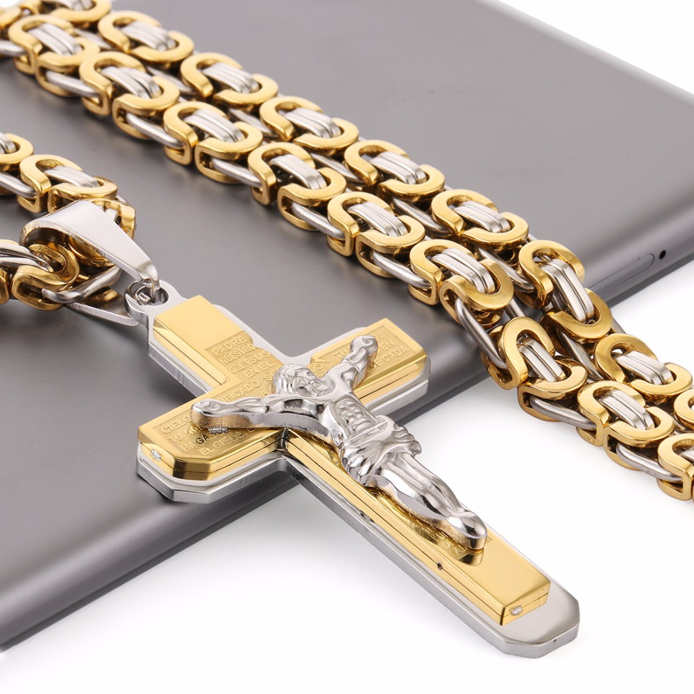 Crucifix Jesus Cross Necklace Stainless Steel Christs Pendant Gold Byzantine Chain Men Necklaces Jewelry Gifts 22