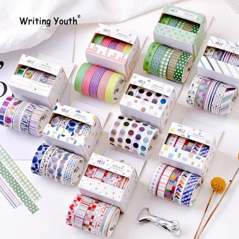 5 Pcs/Set Striped/Grid/Love Basic Solid Color Paper Washi Tape Adhesive Tape DIY Scrapbooking Sticker Label Masking Tape