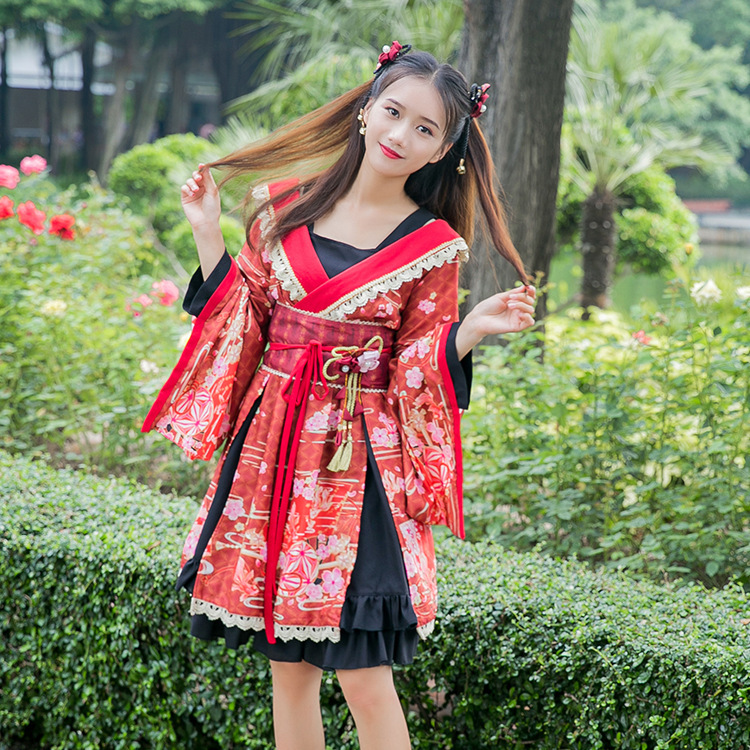 2019 nouveau magnifique ensemble japonais Kimono Style robe Lolita OP robe mignon Yukata manches et dentelle chemises