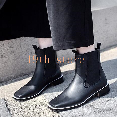 1a85b02768a 2016 New Fashion Square Toe Boots British Style Ankle Flat Shoes ...