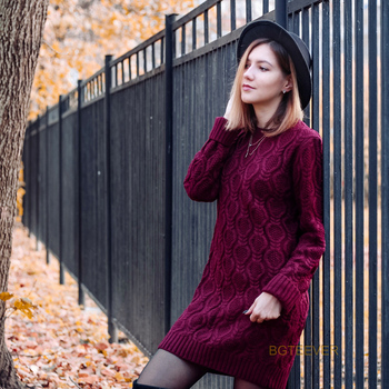 Autumn Winter Thick Warm Sweater Dress Women Sexy O-neck Dress Female Long Sleeve Knitted Dress Femme Vestidos Plus size 2