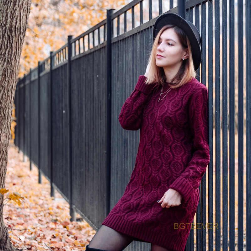 Mùa thu Mùa Đông Dày Ấm Áo Len Áo Phụ Nữ Sexy O-Cổ Váy Nữ Dài Tay Áo Dệt Kim Áo Femme Vestidos Cộng Với kích thước