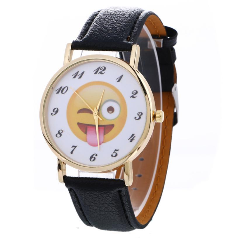 Neuzugang Kreativ Neutral Niedlich Emoji Mode Leder Quarz Armbanduhr - Damenuhren