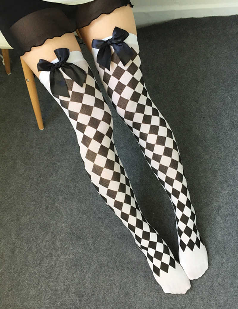 392e636c531ba ... Women Sexy Cosplay Striped Knee stockings Japanese Printed Thigh High  stockings Women Knee Pantyhose Skeleton ...