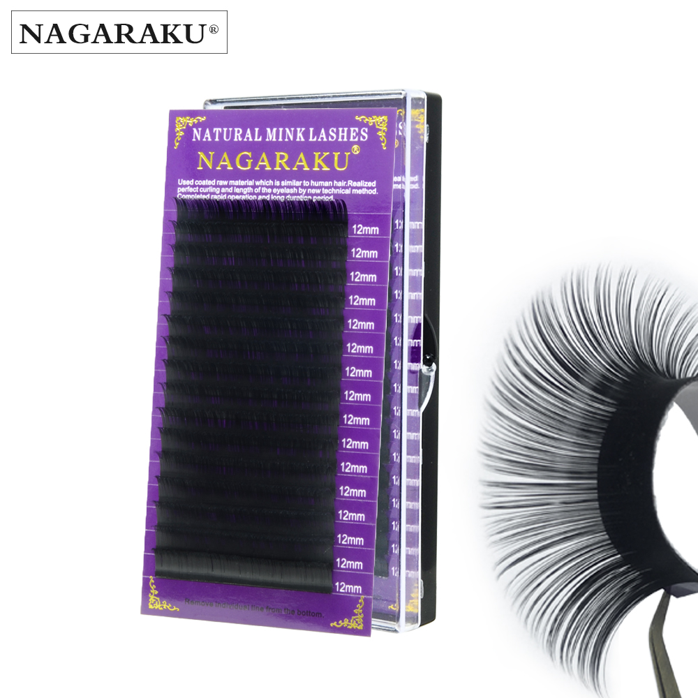 NAGARAKU 16mm Faux Mink Individual Eyelash Extension Cilia Lashes Extension For Professionals Soft Mink Eyelash Extension
