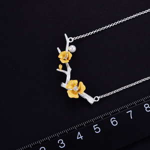 Image 4 - Lotus zabawy prawdziwe 925 Sterling Silver Handmade projektant biżuterii Delicated kwiat śliwy naszyjnik kwiatowy z łańcucha dla kobiet