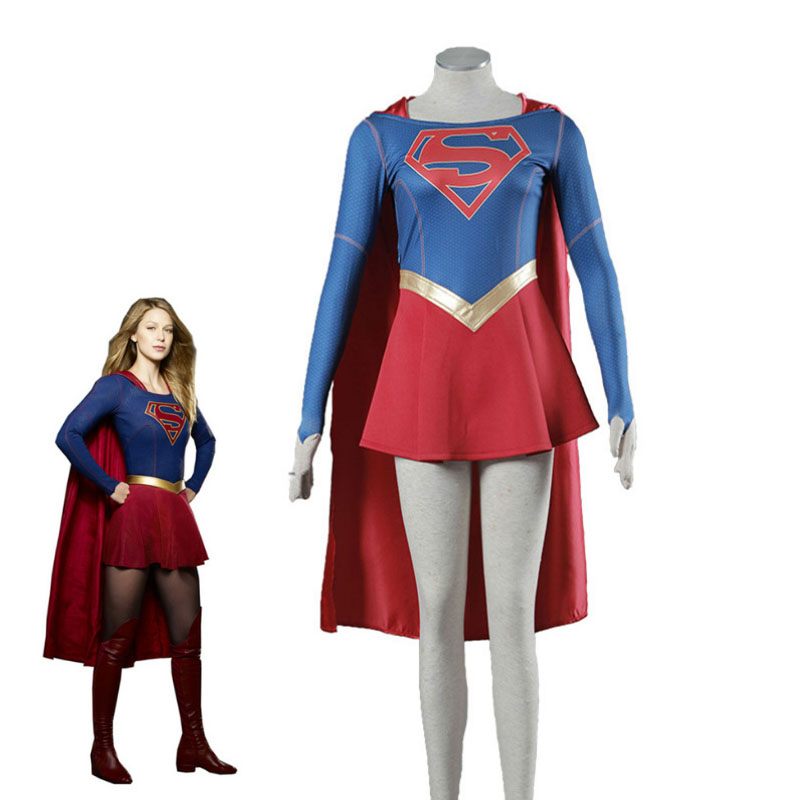 Anime Costumes Cape Halloween Carnival Cosplay Costumes Supply Cbs Supergirl Cosplay Costume Kara Zor-el Danvers Costume