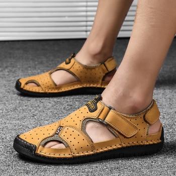 2019 New Casual Men Sandals Comfortable Men Summer Genuine Leather Sandals Men Roman Summer Outdoor Beach Sandals Big Size 38-48