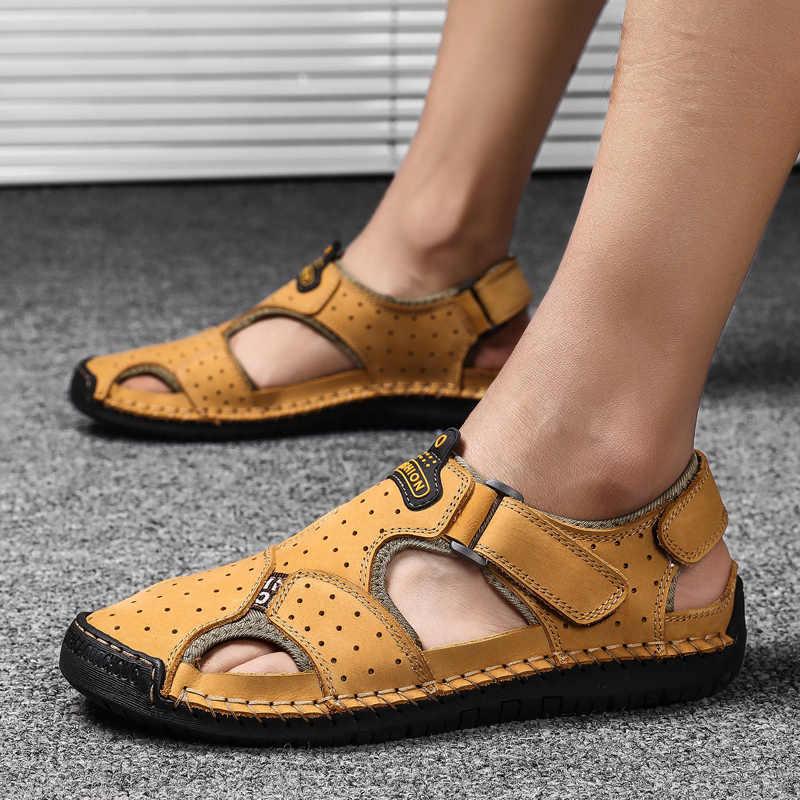 2019 Yeni Casual Erkek Sandalet Rahat Erkekler Yaz Hakiki Deri Sandalet Erkekler Roma Yaz Açık plaj sandaletleri Büyük Boy 38- 48