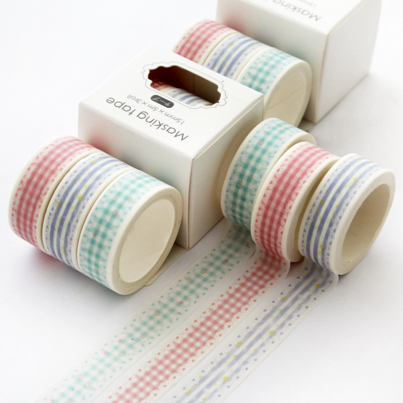 3 Pcs/pack Lace Grid Bullet Journal Washi Tape Set Adhesive Tape DIY Scrapbooking Sticker Label Japanese Masking Tape