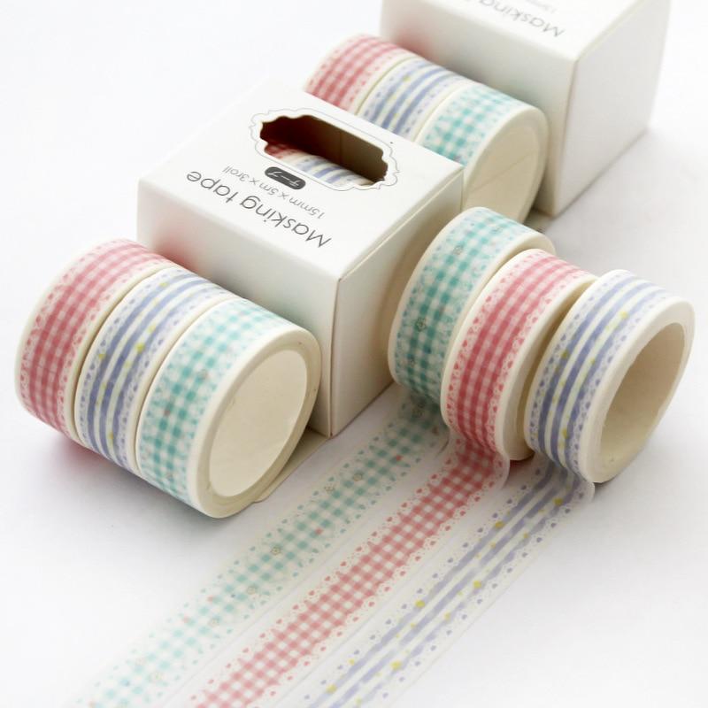 3 pcs/pack Lace Grid  Washi Tape set Adhesive Tape DIY Scrapbooking Sticker Label Japanese Masking tape