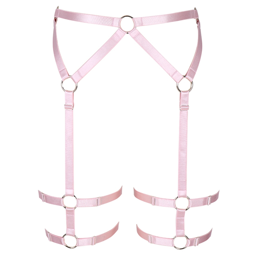 Pink Harness Garter Belt High Waist Stockings Leg Strap Elastic Adjust Goth Body Cage Panties Sexy Lingerie Dance Club Rave