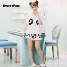 SWEETPINE Fried Eggs Printing Cotton Pajama Two-piece Set Short Sleeve  T-shirt   4ad1bd689