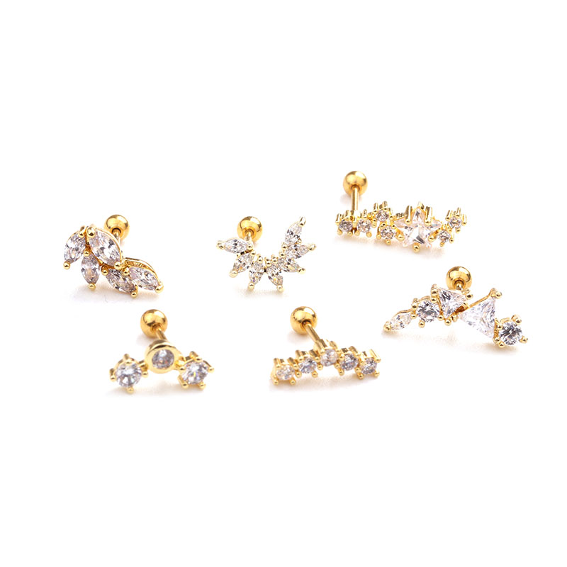 HTB10OrVc.KF3KVjSZFEq6xExFXae - Feelgood Rose Gold Color Curved Cz Cartilage Stud Helix Rook Conch Screw Back Earring 20g Stainless Steel Ear Piercing Jewelry
