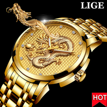 LIGE Mens Watches Top Brand Luxury Quartz Clock Men Casual Gold Dragon Full Steel Waterproof Sport Wrist Watch Relogio MasculinoQuartz Watches