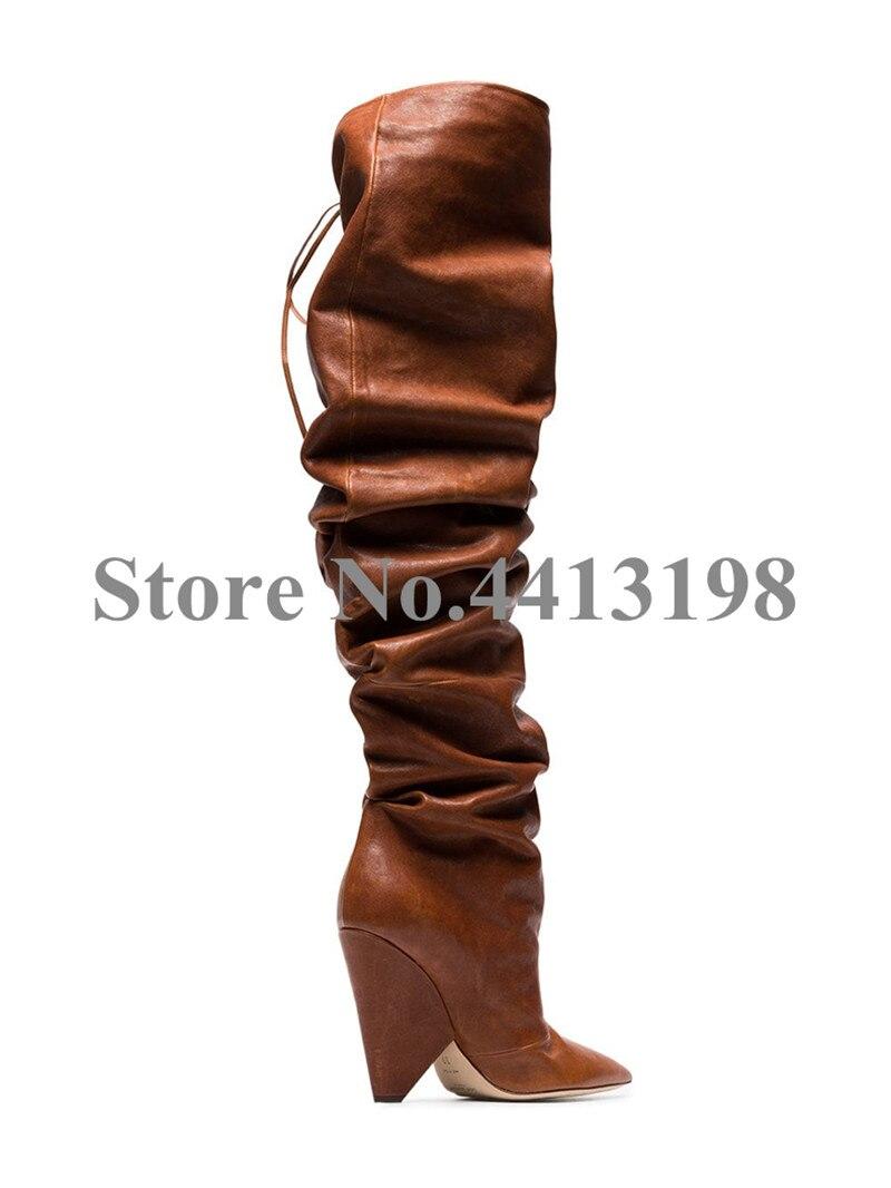 Zapatos Marrón Encima As Por Falda Otoño on Largas Nuevo Picture Rodilla Botas La atado Tacones Slip Mujer De Punta aqB15z