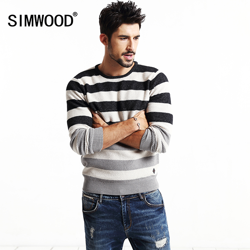 2016 SIMWOOD Brand clothing fashion sweater men striped pullovers 100 cotton contrast color christmas sweater MY2025