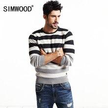 2016 simwood markenkleidung mode pullover männer gestreiften pullover 100% baumwolle kontrast farbe weihnachten pullover my2025