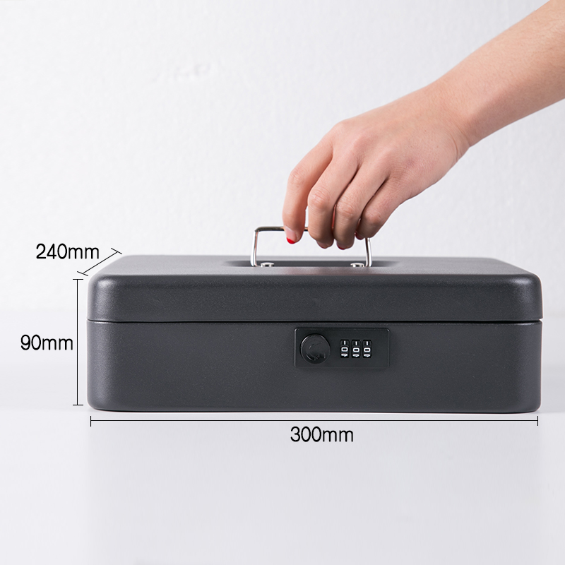 All Metal Portable Multi-function Key Safe Deposit Box Cash Jewelry Insurance Box Home Supermarket Cash Register Storage Box