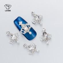 10Pcs 3D Nail Art Decorations Metal Glitter Crown shape Rhinestones Nails Charms Diamonds For Manicure Decor