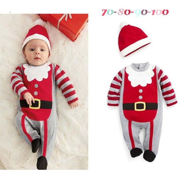 Santa Christmas Baby boys Long Rompers Hat Sets X'mas Gift Baby Clothes  Caps Hoodies Cute Bebe Clothing Suit - Santa Christmas Baby Boys Long Rompers Hat Sets X'mas Gift Baby