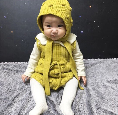 2018 New Spring Autumn Baby Romper Boys Girls Baby Knitted Handmade Sweater Newborn Baby Clothes Infant Knitted Jumpsuit