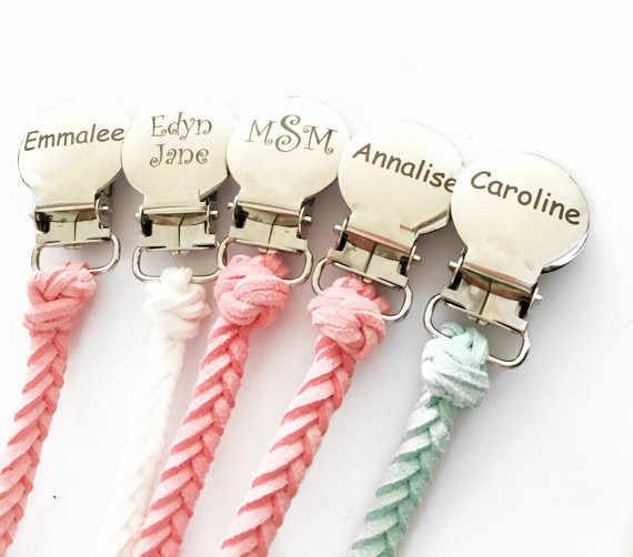 MIYOCAR personalizado cualquier texto chupete de cuero chupete con pinza de soporte bebé dummy clip CADENA DE mordedor