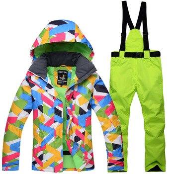 New ladies winter professional ski suit windproof waterproof color jacket and warm pants outdoor veneer 10K ski suit