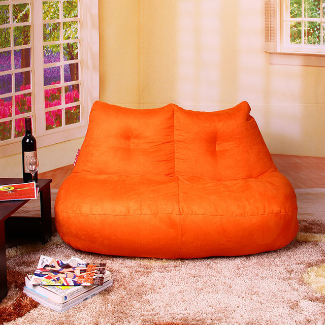 FREE SHIPPING Orange Love Seat Beanbag Chair Modern Love Seat Luxury SUEDE Fabric  Bean Bag Chair