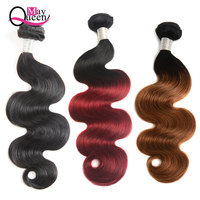 May Queen Brazilian Hair Weave Ombre Body Wave Hair Bundles 8 26 inch 3pcs lot Brazilian Body Wave Remy Human Hair Free Shipping