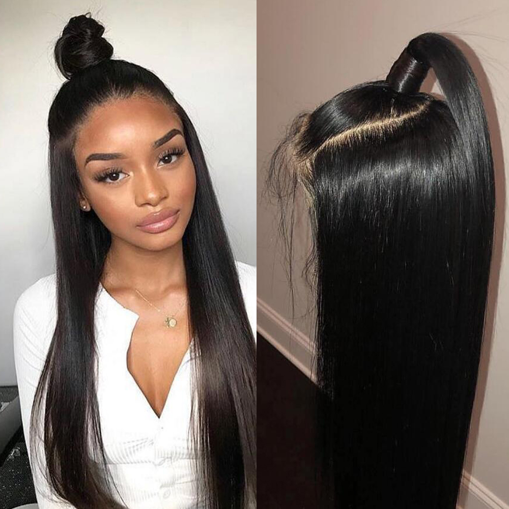 AllRun 360 Lace Frontal Wig Pre Plucked With Baby Hair Remy 360 Lace Frontal Human Hair Wig Brazilian Straight Hair Bob Bang Wig(China)