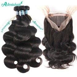 Asteria-pelo brasileño ondulado 360 con mechones de pelo, 3 mechones, cabello humano con extensión de cabello Remy 360 Frontal
