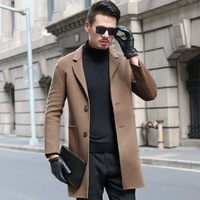 double type cashmere cultivate one's morality long pure color wool woolen cloth coat youth leisure men's clothing