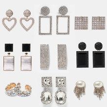 Atacado jujia brincos de cristal de luxo para as mulheres boho geométrica dangle statement za brinco casamento na moda jóias
