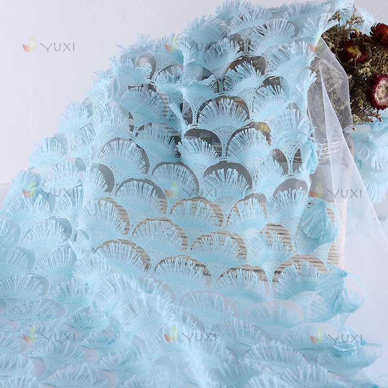 5 Yard Blue Flower Lace Tassels Fabric 3D Square Diamond Bazin Riche Getzner Telas Material  Sequin Embroidery Mesh Fabric