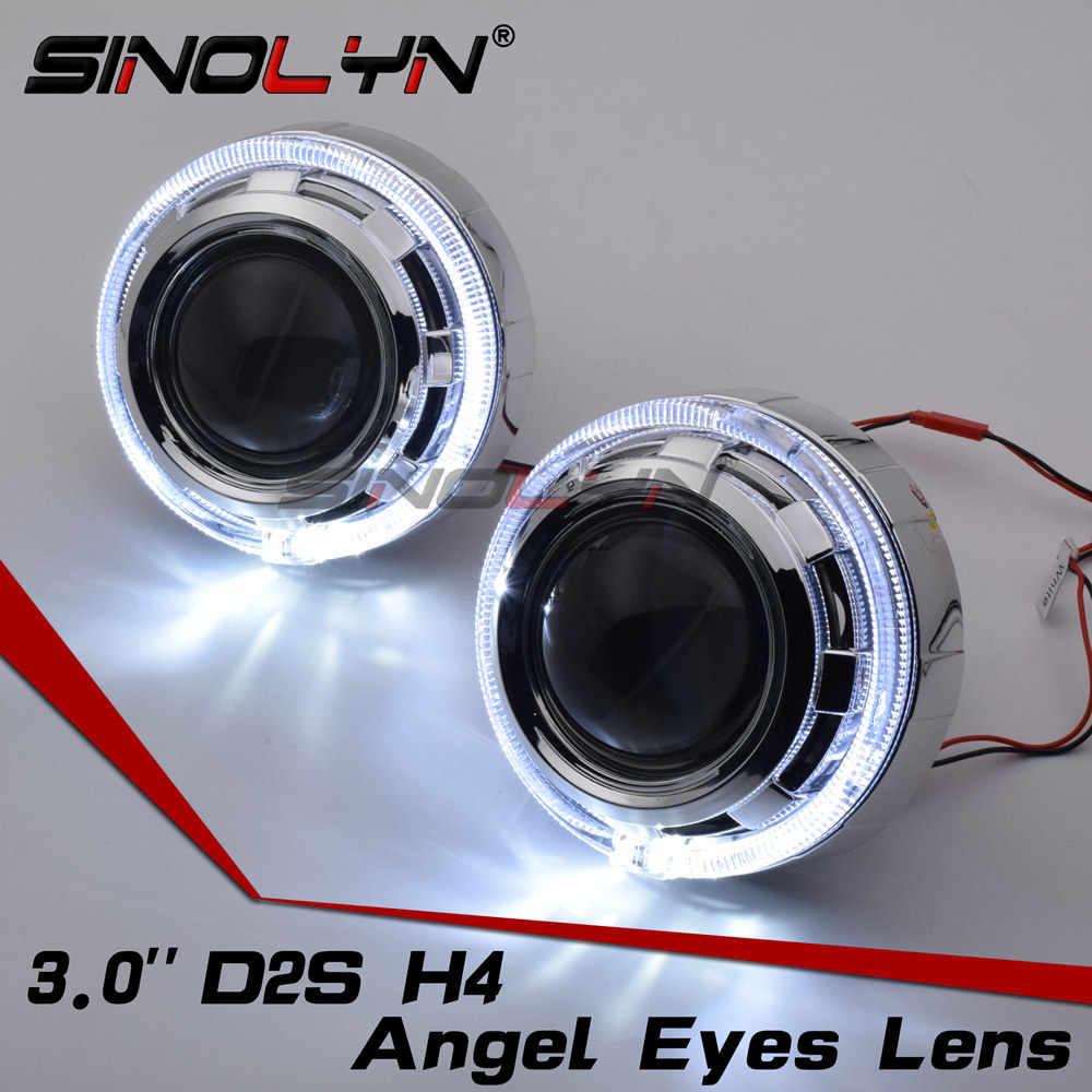 SINOLYN Car Styling 3.0 inches Projector Headlight HID Bi xenon Lens LED Angel Eyes DRL Metal Headlamp Xenon Lenses LHD RHD D2S