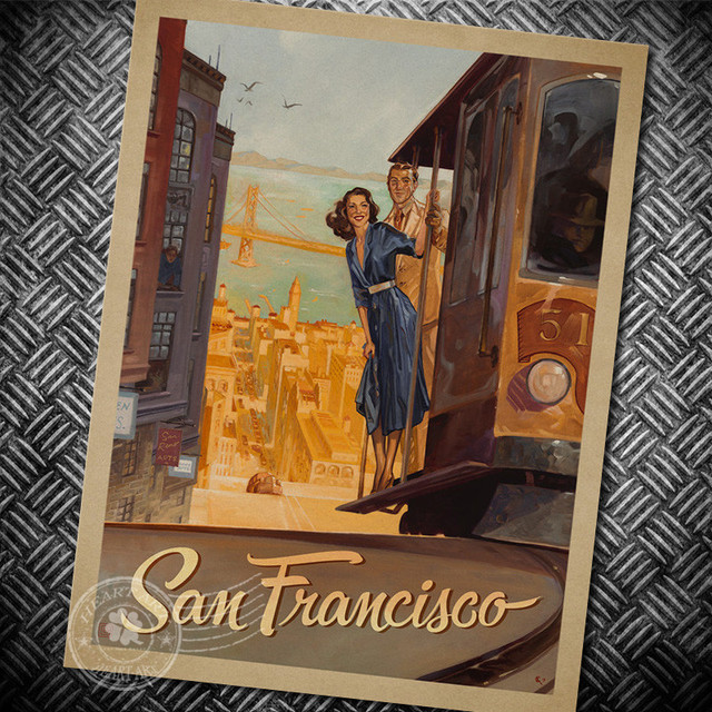 San francisco wall sticker retro poster motivational vintage poster hanging decorative print painting classic poster walls