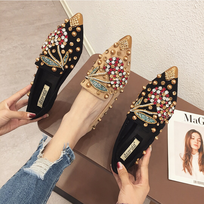 SWYIVY Shoes Flats-Loafers Rhinestone Spring Pointed-Toe Autumn Woman Ladies for Casual title=