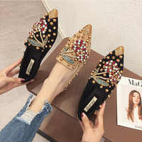 SWYIVY Woman Flats Loafers Shoes Rhinestone Crystal Loafers Ladies Casual Shoes For Women Pointed-Toe Flats Spring and Autumn