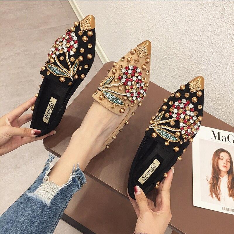 Swyivy mulher apartamentos mocassins sapatos strass cristal mocassins senhoras sapatos casuais para mulher apontou-toe apartamentos primavera e outono