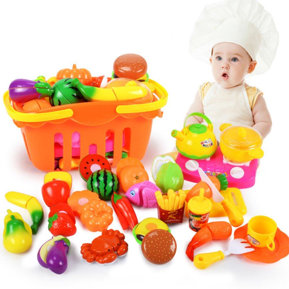 Children Play House Toy Cut Fruit Plastic Vegetables Kitchen Baby Classic Kids Toys Pretend Playset Educational Toys ...