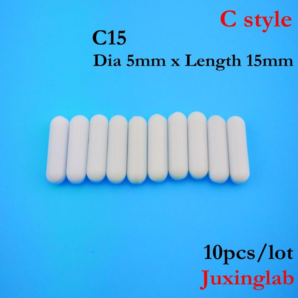 Laboratory PTFE Magnetic Stirrer Mixer Stir Bar C Style C15  Dia5mm X Length 15mm  10pcs/ Pack