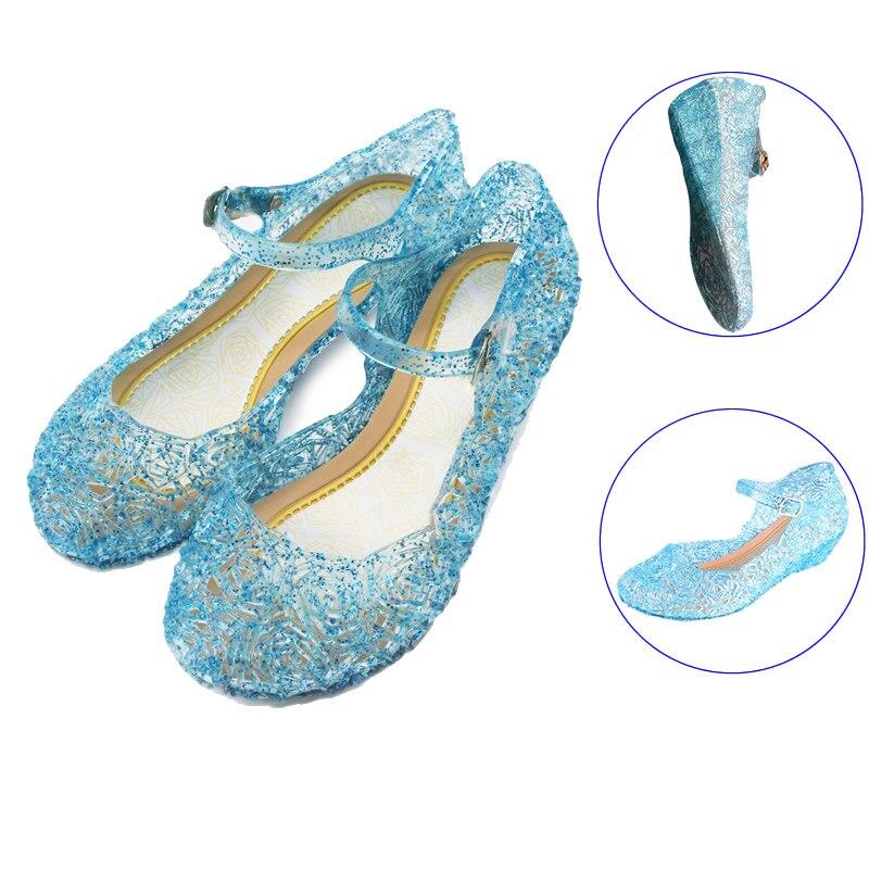 Anne ve Çocuk'ten Sandaletler'de Kızlar şeffaf kristal sandalet prenses elbise ayakkabı çocuklar için bebek kız dans ayakkabıları Elsa mavi ayakkabı Sofia mor sandalet title=