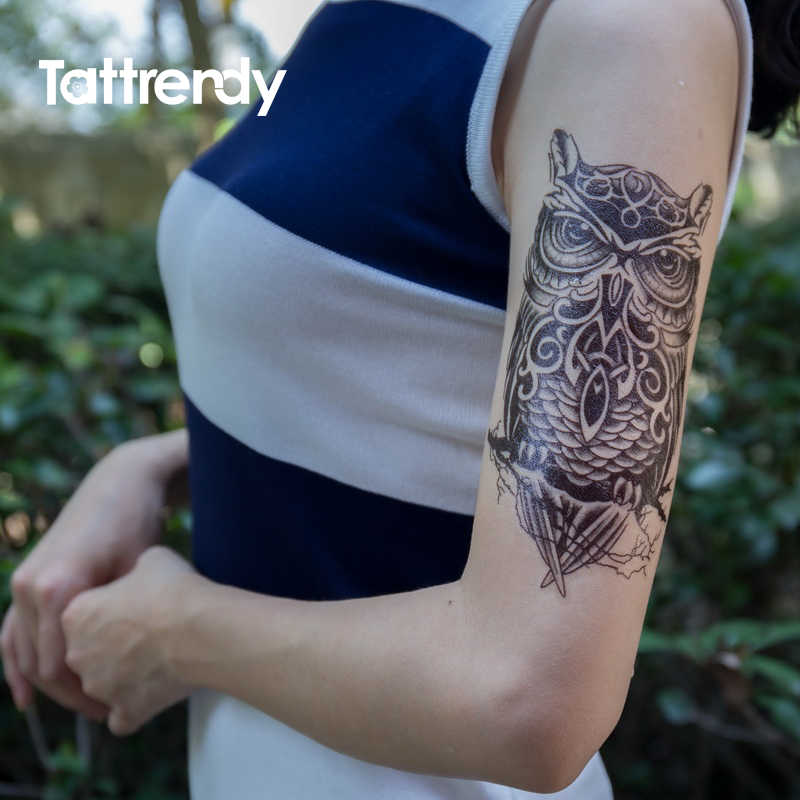 466b715bd9500 ... Waterproof Temporary Tattoo Sticker on arm shoulder big size black ink  owl Water Transfer Fake Tattoos ...