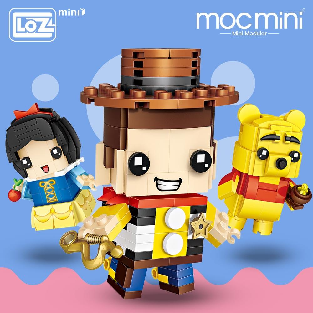 LOZ Mini Blocks Figure Cartoon Squirrel Mermaid Bear Princess Robot Cowboy Elephant Building Blocks Bricks Assembly Toys Gift
